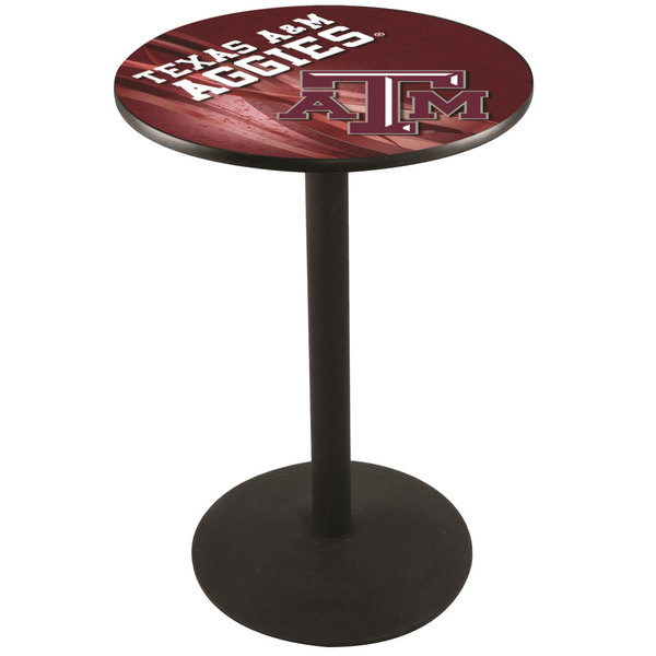 "Holland Bar Stool L214B3628TEXA-M-D2 28"" Round Texas A&M Pub Table with Round Base"