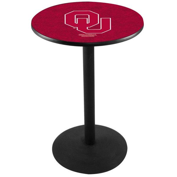 "Holland Bar Stool L214B3628OKLHMA 28"" Round University of Oklahoma Pub Table with Round Base Main Image 1"
