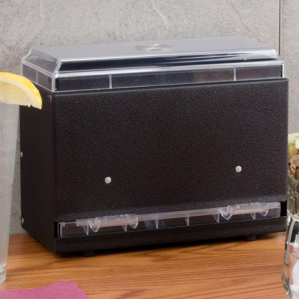 Vollrath 3825-06 Straw Boss Single Sided Bulk Straw Dispenser - Black