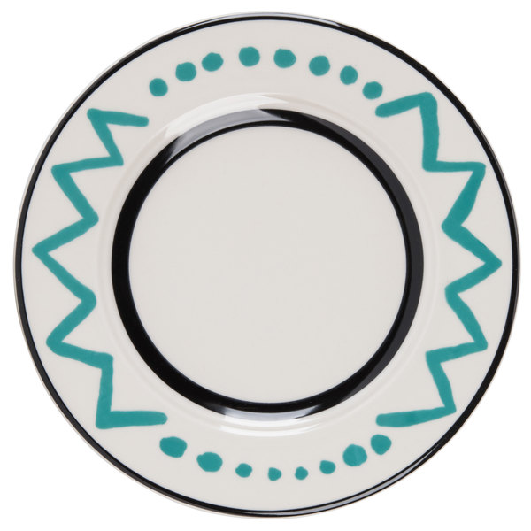"""Homer Laughlin Uptown 6 1/4"""" Creamy White / Off White with Turquoise on Black China Plate - 36/Case"""