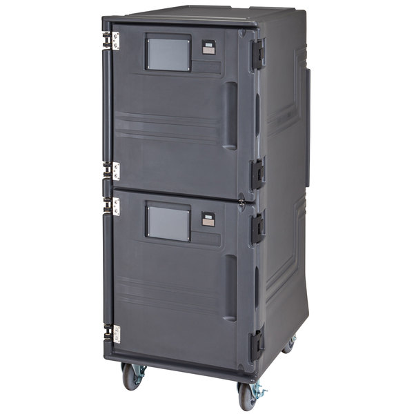 Cambro PCUPC2615 Pro Cart Ultra Charcoal Gray Electric 2 Compartment Pan Carrier, Passive Top and Cold Bottom Compartments - 220V (International Use Only)