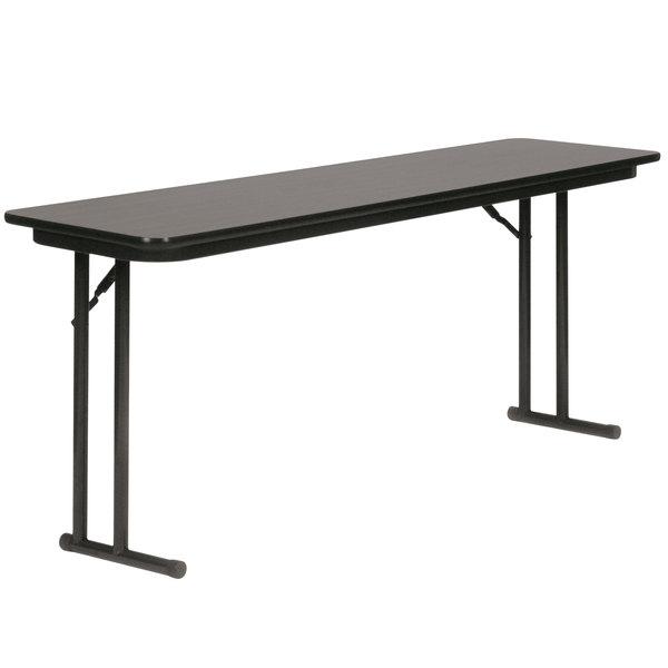 "Correll ST1860PX07 18"" x 60"" Rectangular Black Granite High-Pressure Folding Seminar Table with Off-Set Legs"