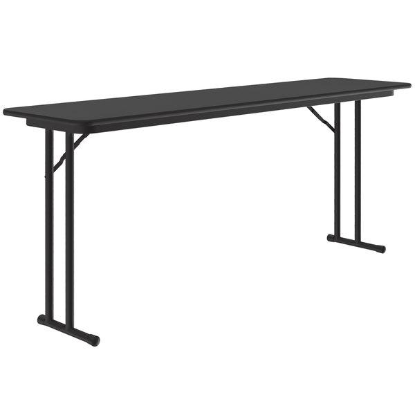 "Correll ST1860PX07 18"" x 60"" Rectangular Black Granite High-Pressure Folding Seminar Table with Off-Set Legs Main Image 1"
