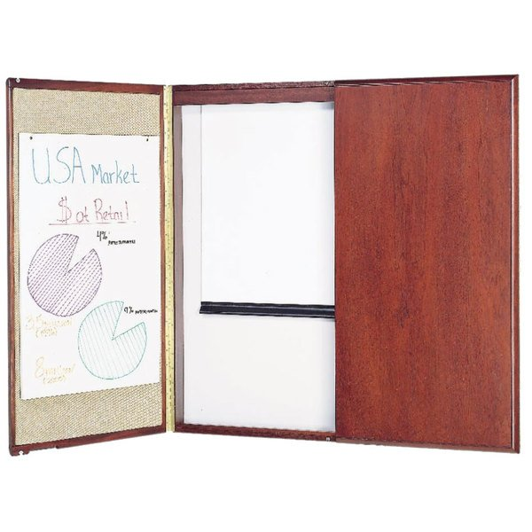 Quartet 851 Mahogany Frame White Marker Board Cabinet with Projection Screen