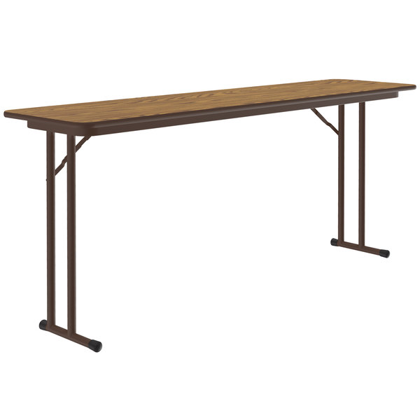 "Correll ST1872PX06 18"" x 72"" Medium Oak High-Pressure Top Folding Seminar Table With Off-Set Legs"