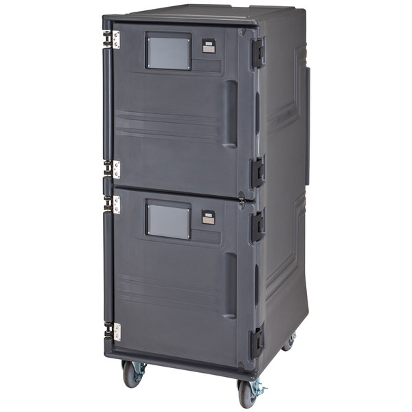 Cambro PCUCH2615 Pro Cart Ultra® Charcoal Gray Electric 2 Compartment Pan Carrier, Cold Top and Hot Bottom Compartments - 220V (International Use Only)