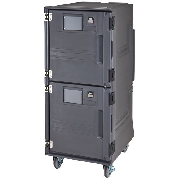Cambro PCUCH2615 Pro Cart Ultra Charcoal Gray Electric 2 Compartment Pan Carrier, Cold Top and Hot Bottom Compartments - 220V (International Use Only)