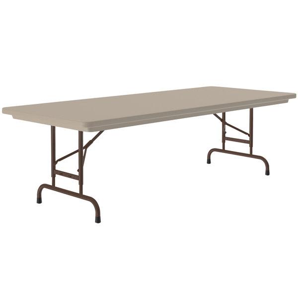 "Correll RA307224 R-Series 30"" x 72"" Mocha Granite Heavy-Duty Adjustable Height Folding Table Main Image 1"