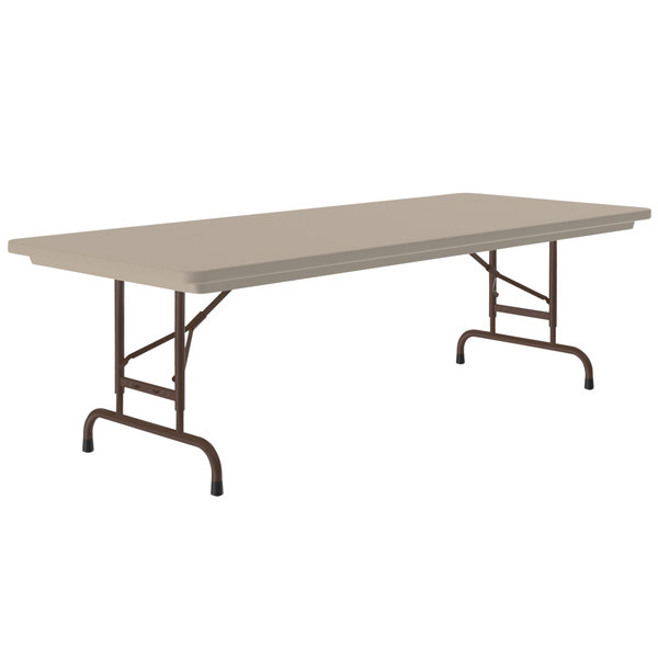"Correll RA306024 R-Series 30"" x 60"" Mocha Granite Heavy-Duty Adjustable Height Folding Table"