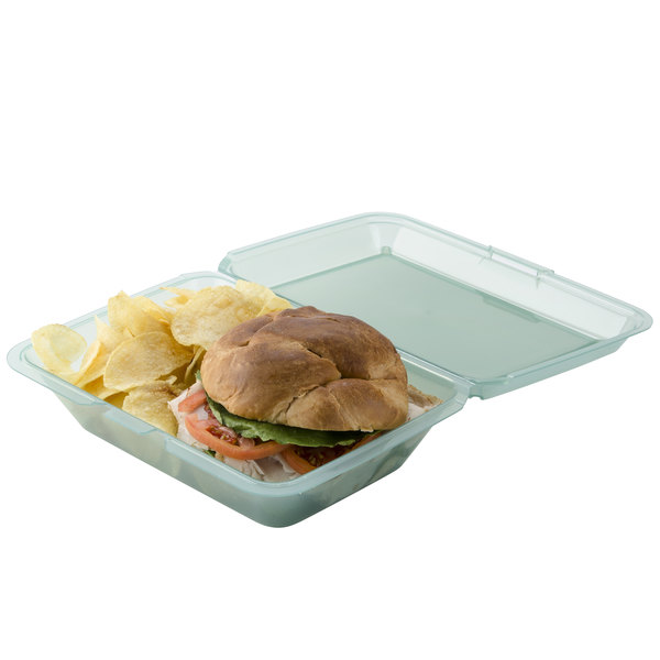 "GET EC-04 9"" x 6 1/2"" x 2 1/2"" Jade Green Customizable Reusable Eco-Takeouts Container - 12/Pack"