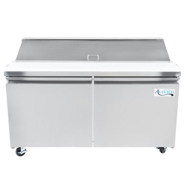 Avantco SS-PT-60-HC 60 inch 2 Door Stainless Steel Refrigerated Sandwich Prep Table