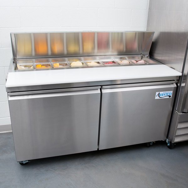 "Avantco SS-PT-60-HC 60"" 2 Door Stainless Steel Refrigerated Sandwich Prep Table"