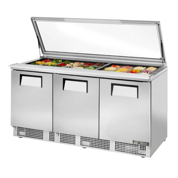 "True TFP-72-30M-FGLID 72"" 3 Door Mega Top Hinged Glass Lid Refrigerated Sandwich Prep Table"
