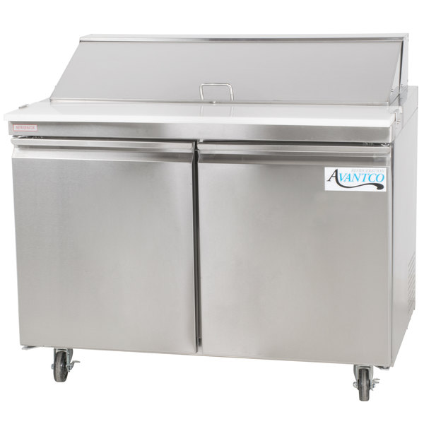 Avantco SS-PT-48-HC 46 3/4 inch 2 Door Stainless Steel Refrigerated Sandwich Prep Table