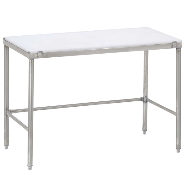 "Channel CT248 24"" x 48"" Poly Top Stainless Steel Work Table - Open Base"