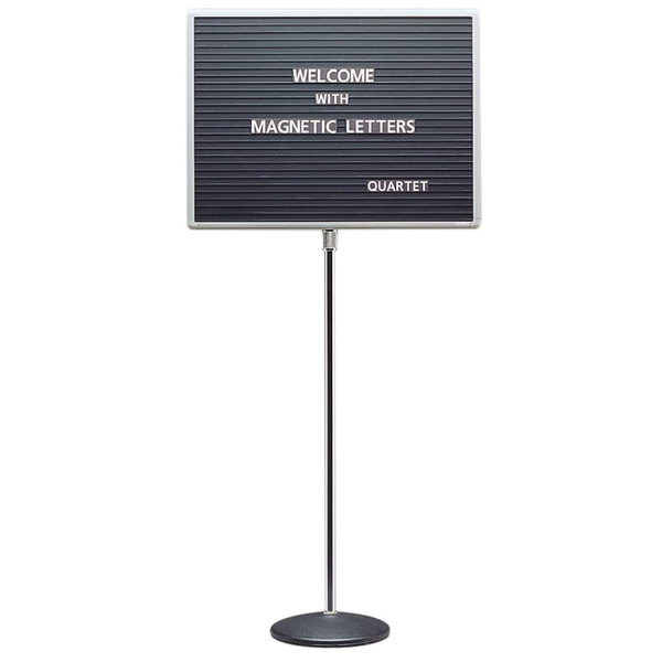 "Quartet 7921M 45"" to 62"" Black Adjustable Aluminum Single Pedestal Stand with 24"" x 18"" Magnetic Board"