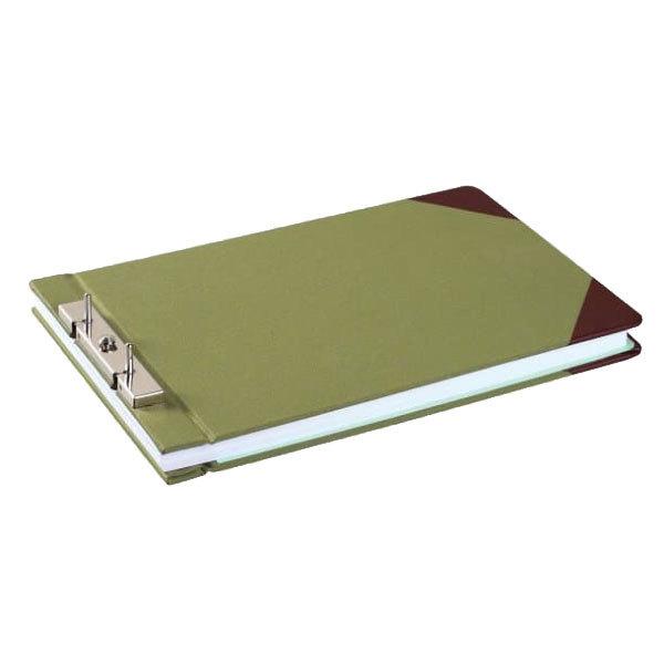 """Wilson Jones 27831 8 1/2"""" x 14"""" Green Canvas Sectional Storage Post Binder - 3"""" Capacity"""