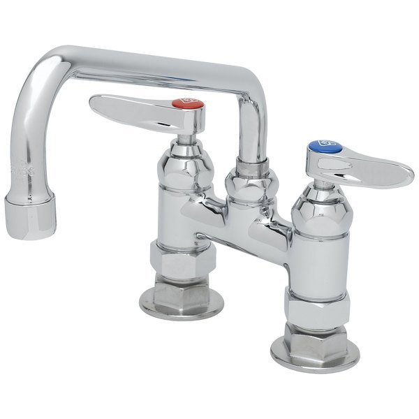 """T&S B-0226 Deck Mounted Pantry Faucet with 4"""" Adjustable Centers, 10"""" Swing Nozzle, and Eterna Cartridges"""