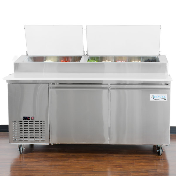 "Avantco PICL2-HC 72"" 2 Door Refrigerated Pizza Prep Table"