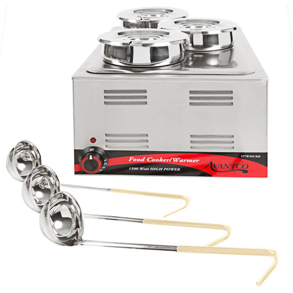 "Avantco 12"" x 20"" Full Size Electric Countertop Food Cooker / Warmer / Soup Station with 3 Insets, 3 Lids, and 3 (3 oz.) Ladles - 120V, 1500W Main Image 1"