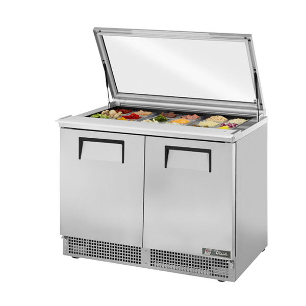 "True TFP-48-18M-FGLID 48"" 2 Door Mega Top Hinged Glass Lid Refrigerated Sandwich Prep Table"