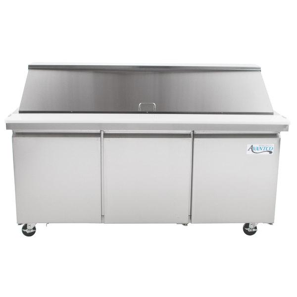 Avantco SS-PT-71M-HC 70 inch 3 Door Mega Top Stainless Steel Refrigerated Sandwich Prep Table