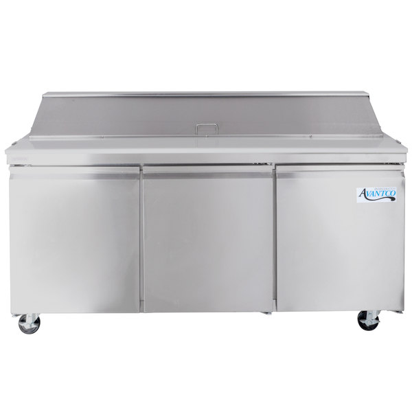 "Avantco SS-PT-71-HC 70"" 3 Door Stainless Steel Refrigerated Sandwich Prep Table"