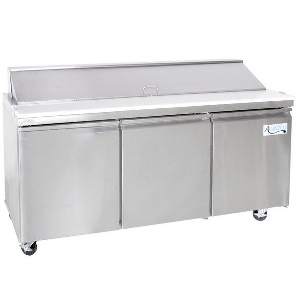 "Avantco SS-PT-71-HC 70"" 3 Door Stainless Steel Refrigerated Sandwich Prep Table Main Image 1"