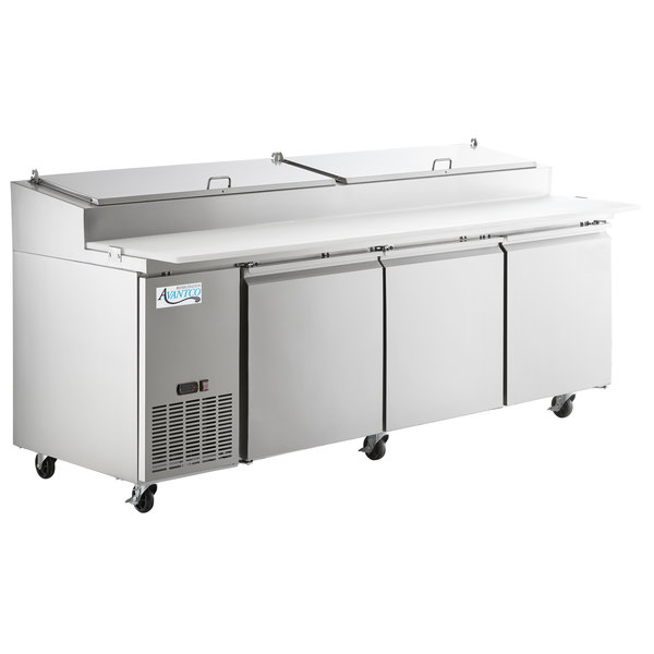 Avantco PICL3-HC 93 inch 3 Door Refrigerated Pizza Prep Table