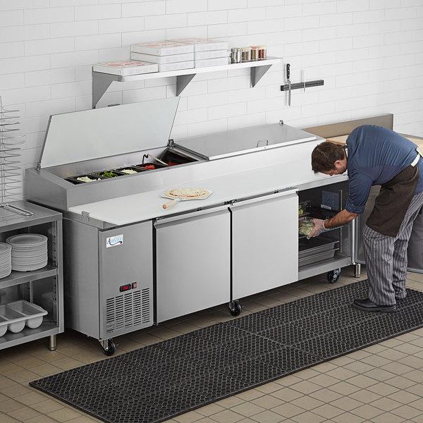 "Avantco PICL3-HC 93"" 3 Door Refrigerated Pizza Prep Table Main Image 7"