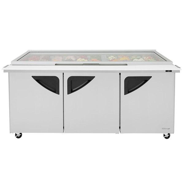 "Turbo Air TST-72SD-30-N-GL 72"" 3 Door Mega Top Hinged Glass Lid Refrigerated Sandwich Prep Table Main Image 1"