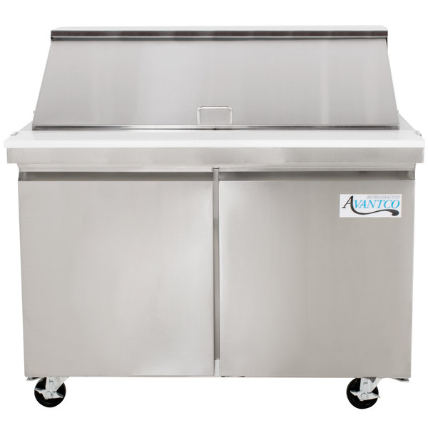 "Avantco SS-PT-48M-HC 48"" 2 Door Mega Top Stainless Steel Refrigerated Sandwich Prep Table"