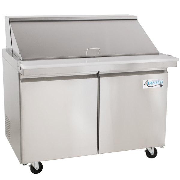 Avantco SS-PT-48M-HC 48 inch 2 Door Mega Top Stainless Steel Refrigerated Sandwich Prep Table