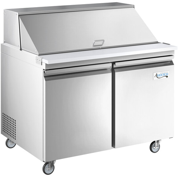 "Avantco SS-PT-48M-HC 48"" 2 Door Mega Top Stainless Steel Refrigerated Sandwich Prep Table Main Image 1"