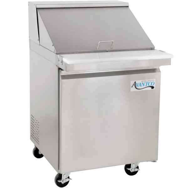 "Avantco SS-PT-27M-HC 27"" 1 Door Mega Top Stainless Steel Refrigerated Sandwich Prep Table Main Image 1"