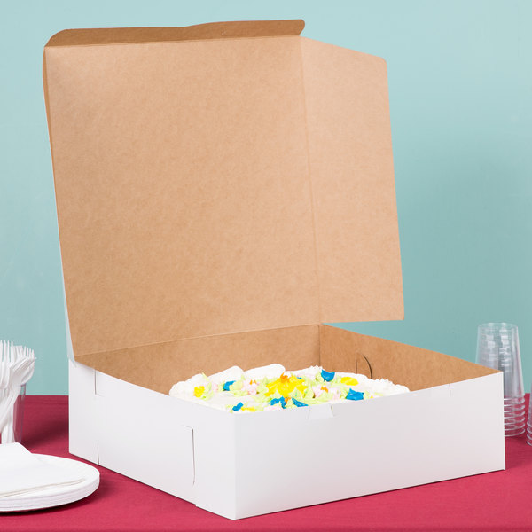 "16"" x 16"" x 5"" White Cake / Bakery Box - 50/Bundle"