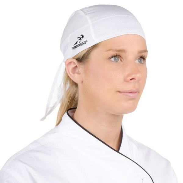 Headsweats White Customizable Eventure Fabric Adjustable Chef Bandana / Do Rag Main Image 1