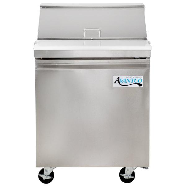 Avantco SS-PT-27-HC 27 inch 1 Door Stainless Steel Refrigerated Sandwich Prep Table