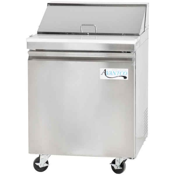 Avantco SS-PT-27-HC 27 inch 1 Door Stainless Steel Refrigerated Sandwich Prep Table