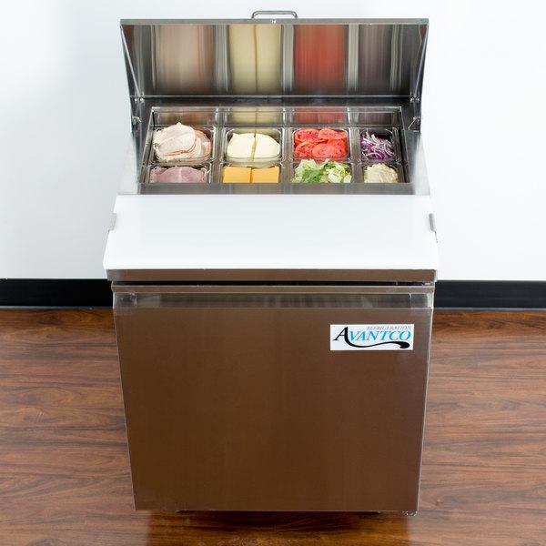 "Avantco SS-PT-27-HC 27"" 1 Door Stainless Steel Refrigerated Sandwich Prep Table"