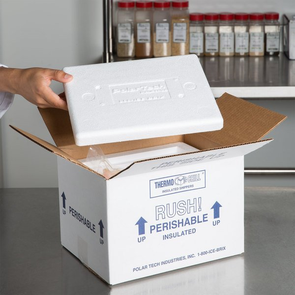 """Polar Tech 8"""" x 6"""" x 4 1/4"""" Thermo Chill Insulated Shipping Container"""