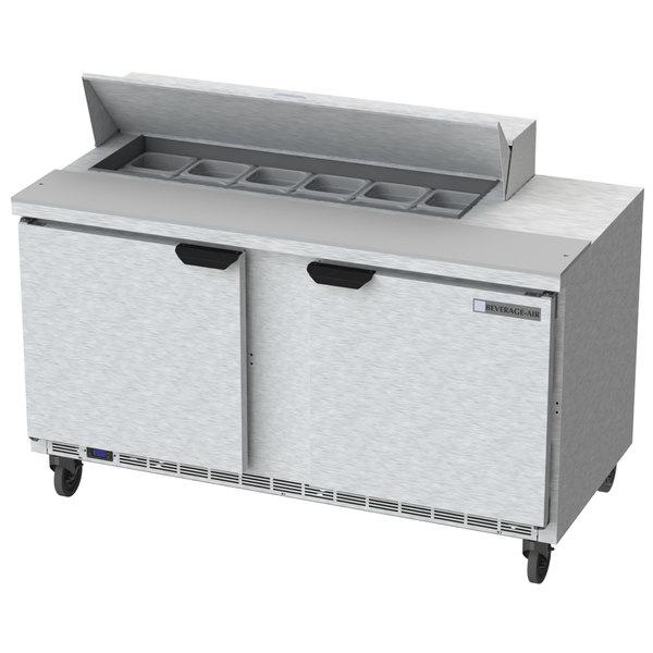 """Beverage-Air SPE60HC-12 Elite Series 60"""" 2 Door Refrigerated Sandwich Prep Table"""