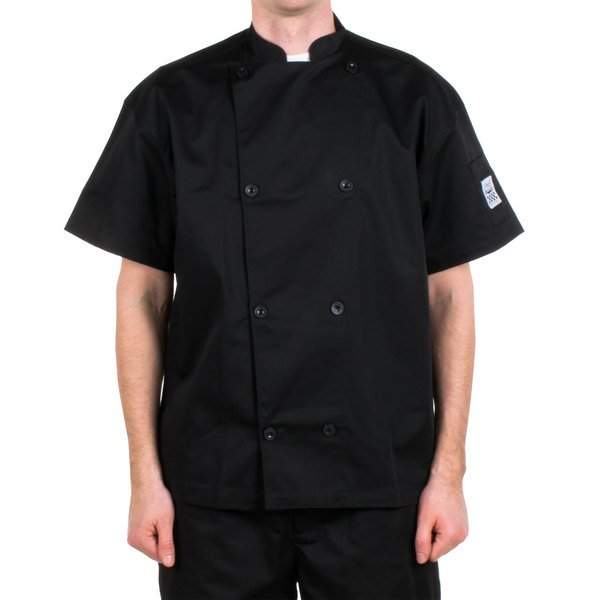 Chef Revival Silver J005BK-XS Customizable Short Sleeve Knife and Steel Chef Jacket Size 32 (XS)