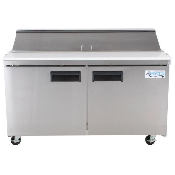 "Avantco APT-60-HC 60"" 2 Door Refrigerated Sandwich Prep Table Main Image 1"