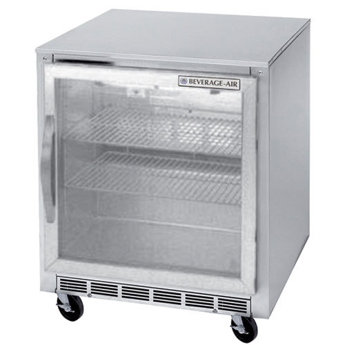 """Beverage-Air UCR27AR-25-LED 27"""" Remote Cooled Undercounter Refrigerator with Glass Door and LED Lighting"""