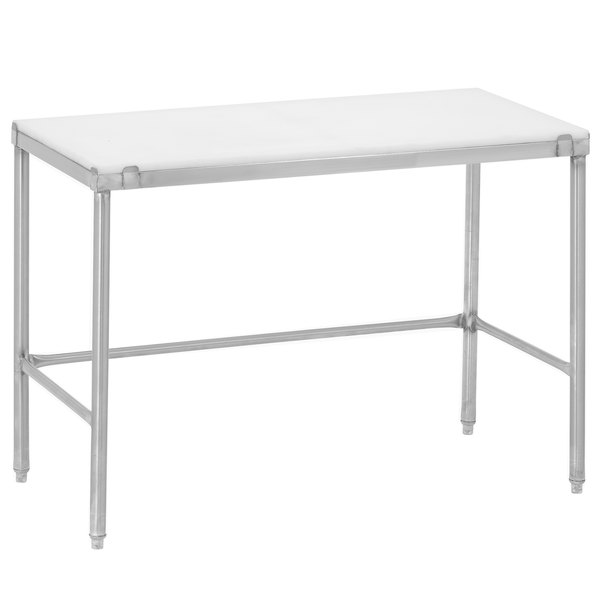 """Channel CT360 30"""" x 60"""" Poly Top Stainless Steel Work Table - Open Base"""