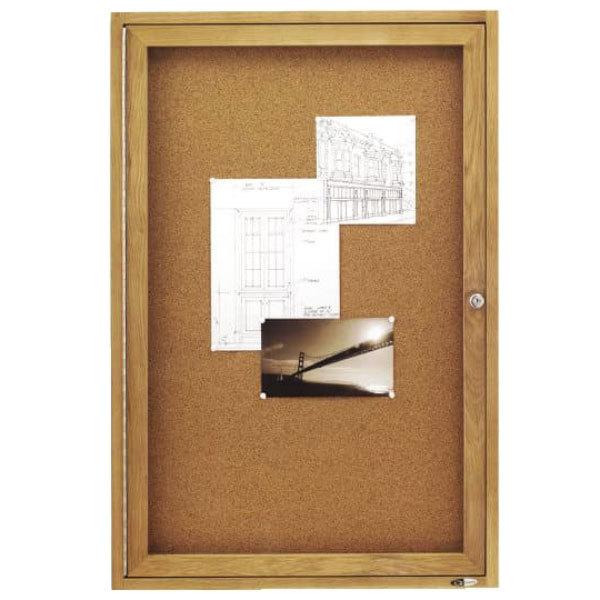 "Quartet 363 24"" x 36"" Enclosed Cork Board with Oak Frame"