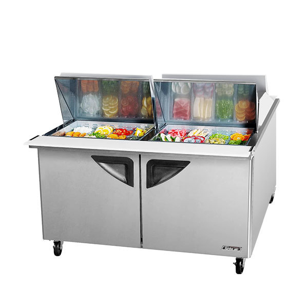 """Turbo Air TST-60SD-24-DS 60"""" 2 Door Mega Top Dual Sided Refrigerated Sandwich Prep Table"""
