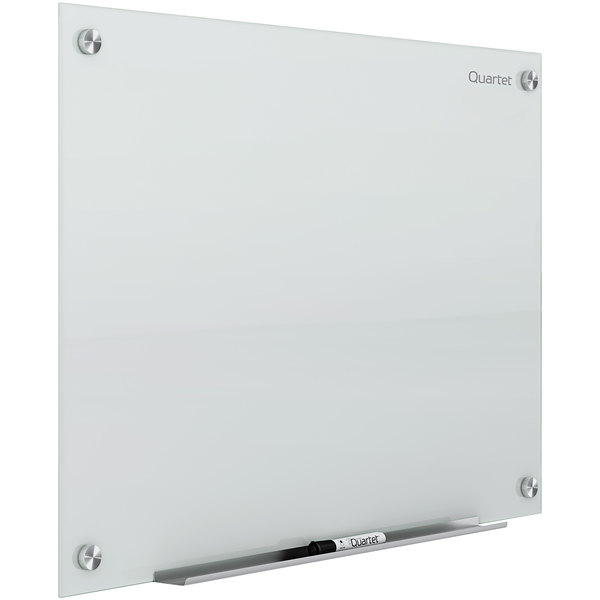 "Quartet G9648W 96"" x 48"" White Frameless Magnetic Glass Markerboard with Marker Rail Main Image 1"