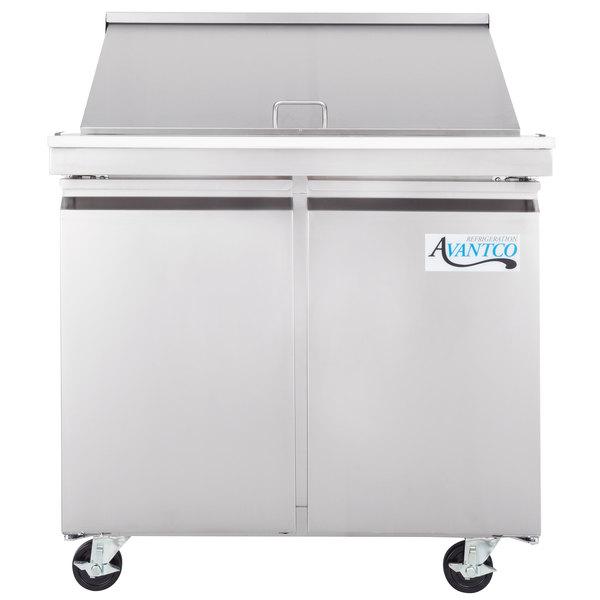 Avantco SS-PT-36M-HC 36 inch 2 Door Mega Top Stainless Steel Refrigerated Sandwich Prep Table